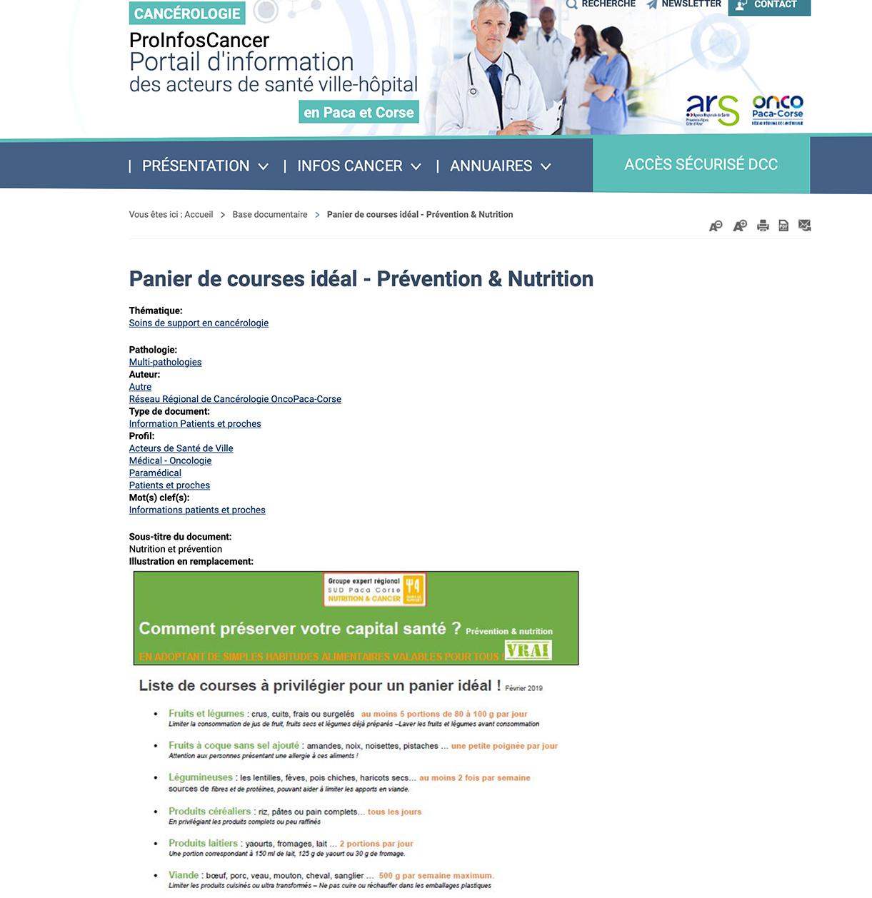Panier de courses idéal - Prévention & Nutrition