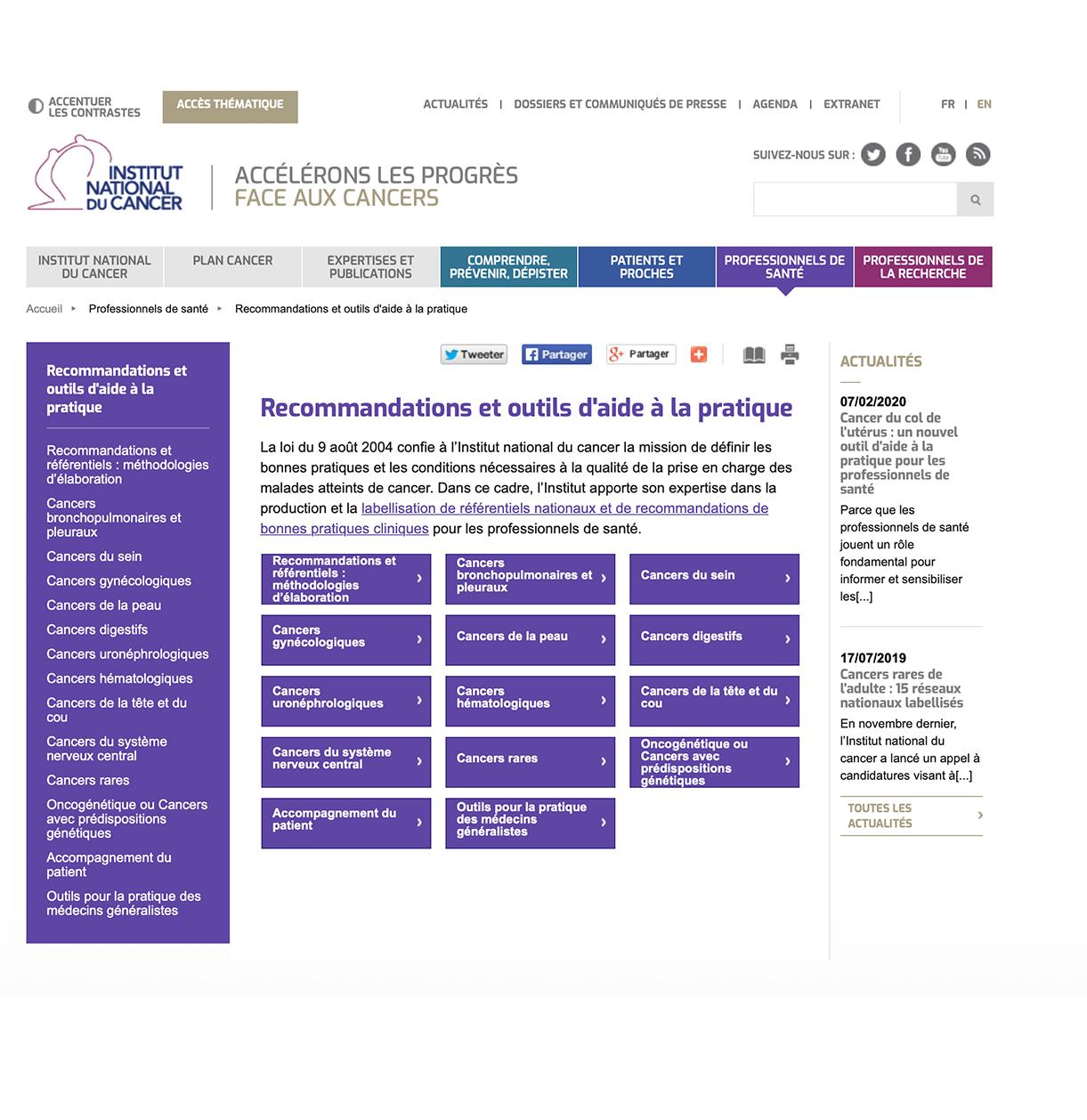 Recommandations et outils d'aide à la pratique
